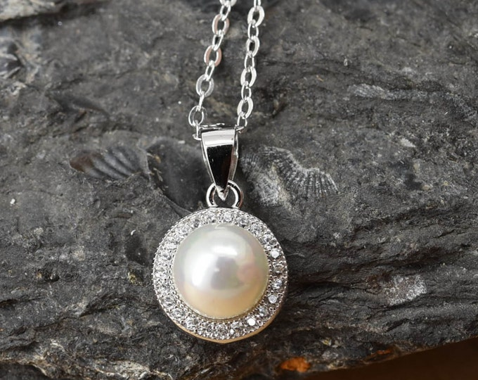 Circle Necklace, Circle  Pendant, Circle Pearl Jewelry, 925 Sterling Silver, Crystal Necklace Pendant, Bridesmaid Gift,Bridesmaid Necklace