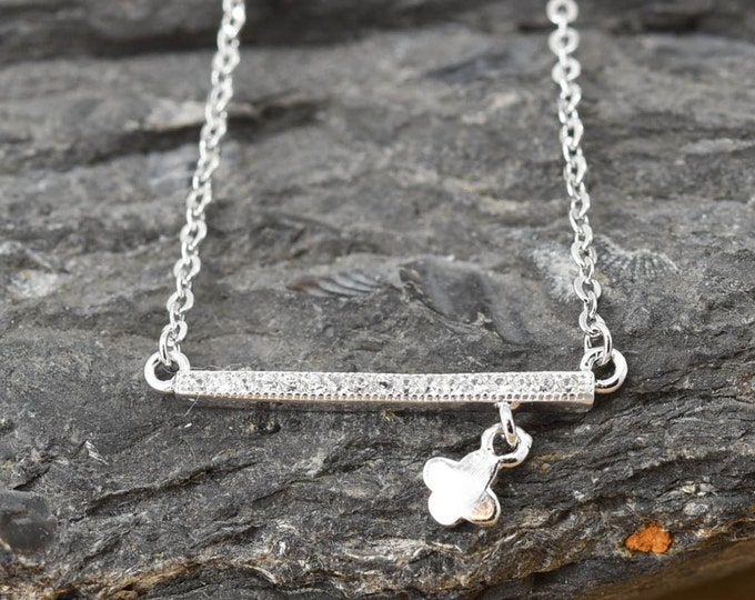 Bar Necklace, Bar Pendant, Bar Jewelry, 925 Sterling Silver, Crystal Necklace Pendant, Bridesmaid Gift, Bridesmaid Necklace