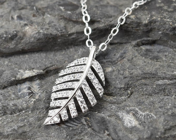 Leaf Necklace, Leaf Pendant Jewelry, 925 Sterling Silver, Crystal Necklace Pendant, Bridesmaid Gift, Bridesmaid Necklace