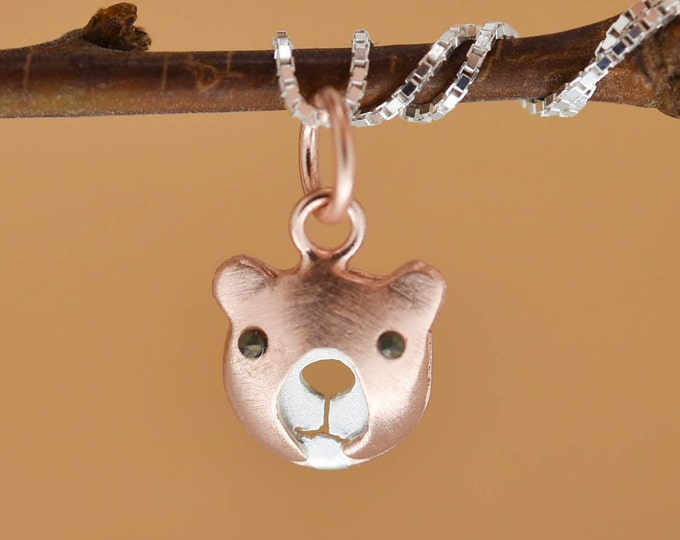 Teddy Bear Pendant, Bear Necklace, Bear Jewelry, Bear Charm, 925 Sterling Silver, Bridesmaid Gift, Best Friend Gift, Gift for her