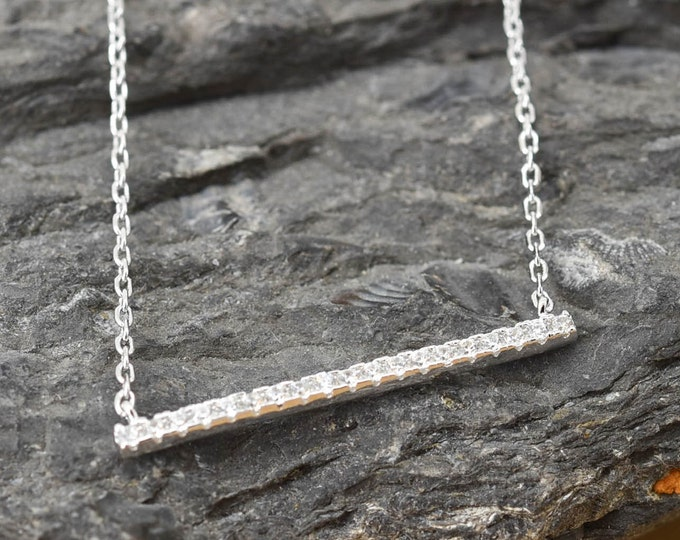 Bar Necklace, Bar Pendant, 925 Sterling Silver, Crystal Necklace Pendant, Bridesmaid Gift, Bridesmaid Necklace