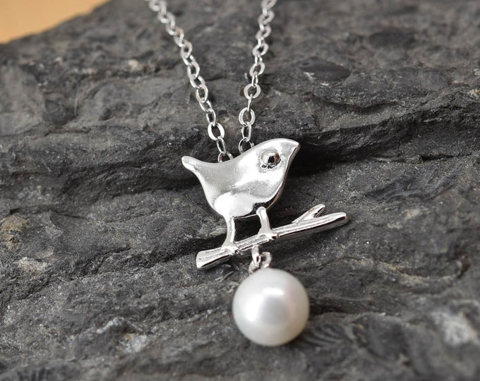 Bird Necklace, Bird Pendant, Bird Jewelry, 925 Sterling Silver, Pearl Necklace Pendant, Bridesmaid Gift, Bridesmaid Necklace