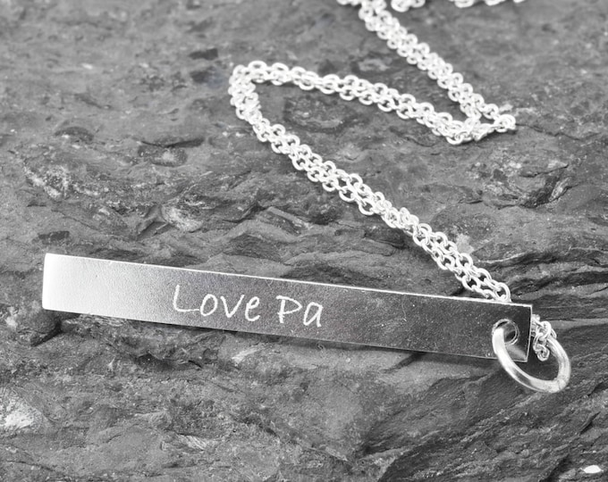 Handwriting Engraving, Fingerprint Necklace, Fingerprint Jewelry, Personalized Jewelry, Bridesmaid Gift, Bar Necklace, Engraved Necklace