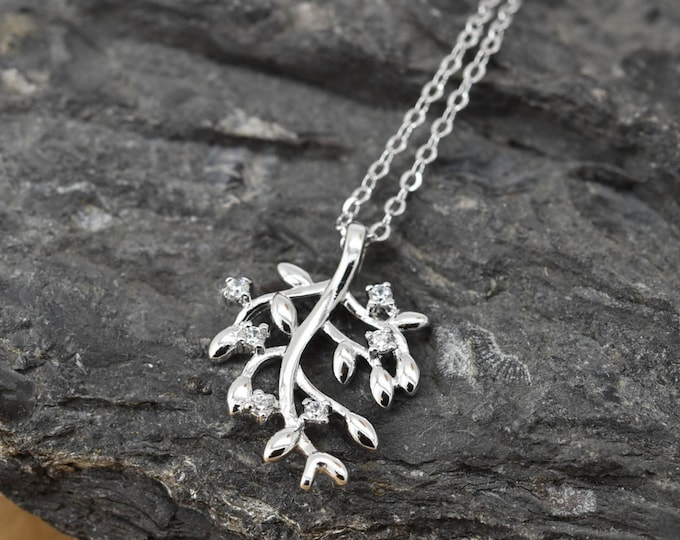 Leaf Necklace, Leaf Pendant, Leaf Jewelry, 925 Sterling Silver, Crystal Necklace Pendant, Bridesmaid Gift,Bridesmaid Necklace