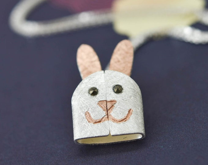 Rabbit Pendant, Rabbit Necklace, Rabbit Jewelry, Rabbit Charm, 925 Sterling Silver, Bridesmaid Gift, Best Friend Gift, Gift for her
