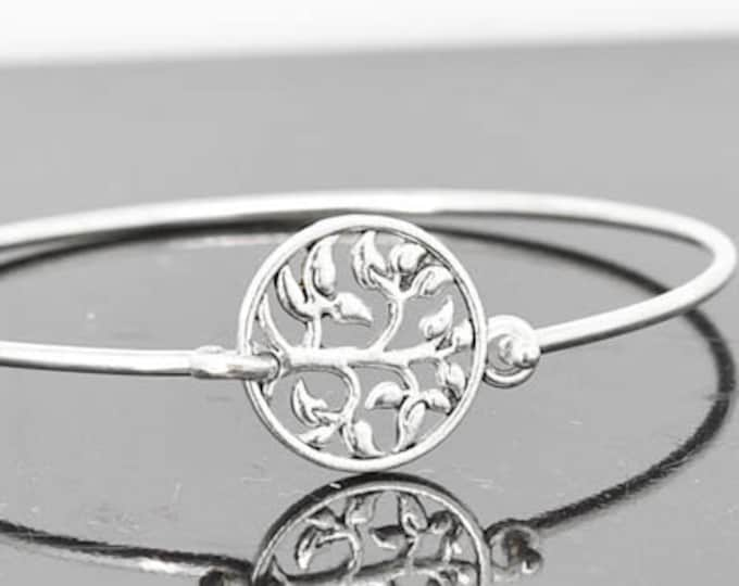 Tree of Life Bangle, Sterling Silver Bangle, Tree of Life Bracelet, Stackable Bangle, Charm Bangle, Bridesmaid Bangle, Bridesmaid jewelry