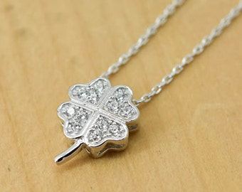 Clover Necklace, Clover Pendant, 925 Sterling Silver, Crystal Necklace Pendant, Bridesmaid Gift, Bridesmaid Necklace