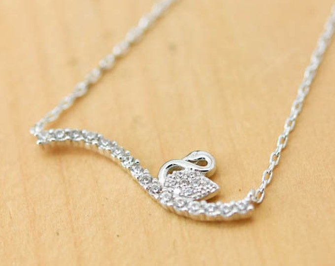 Swan Necklace, Swan Pendant, 925 Sterling Silver Necklace, Crystal Necklace Pendant, Bridesmaid Gift, Bridesmaid Necklace,