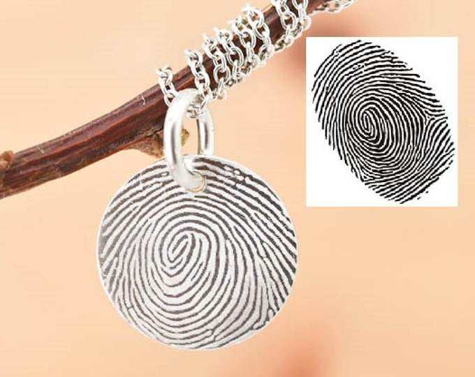 Fingerprint Necklace, Fingerprint Jewelry, Engraved Necklace, Engraved Jewelry, Personalized Necklace, Bridesmaid Gift, Best Friend, Sister