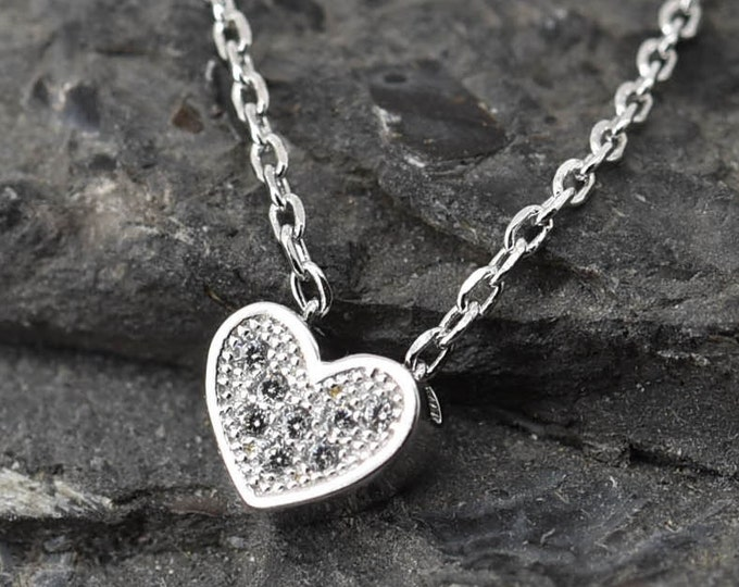 Heart Necklace, Heart Pendant, Heart Jewelry, 925 Sterling Silver, Crystal Necklace Pendant, Bridesmaid Gift,Bridesmaid Necklace