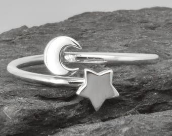 Star Ring, Moon Ring, Personalized Gift, Bridesmaid Gift, Bridal Jewelry, Maid Of Honor, Wedding Gift, Stacking Ring, Best Friend Gift