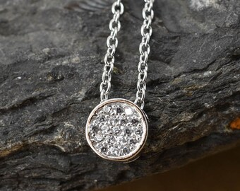 Eternity Circle Necklace, Circle Pendant, Circle Jewelry, 925 Sterling Silver, Crystal Necklace Pendant, Bridesmaid Gift,Bridesmaid Necklace