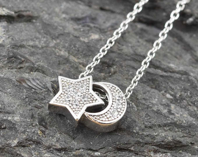 Star Moon Necklace, Star Moon Pendant, 925 Sterling Silver,Crystal Necklace Pendant, Bridesmaid Gift, Bridesmaid Necklace,Bridesmaid Jewelry