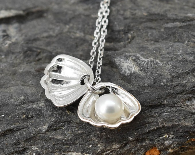Shell Necklace, Shell Pendant, Shell Jewelry, 925 Sterling Silver, Crystal Necklace Pendant, Bridesmaid Gift, Bridesmaid Necklace