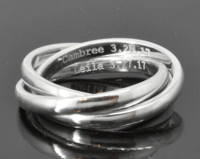 Wedding Band, Engraving Ring, Russian Ring, Rolling Ring, Trinity Ring, Maid of Honor, Triple, Wedding Ring, Engagement Ring, Stacking Ring