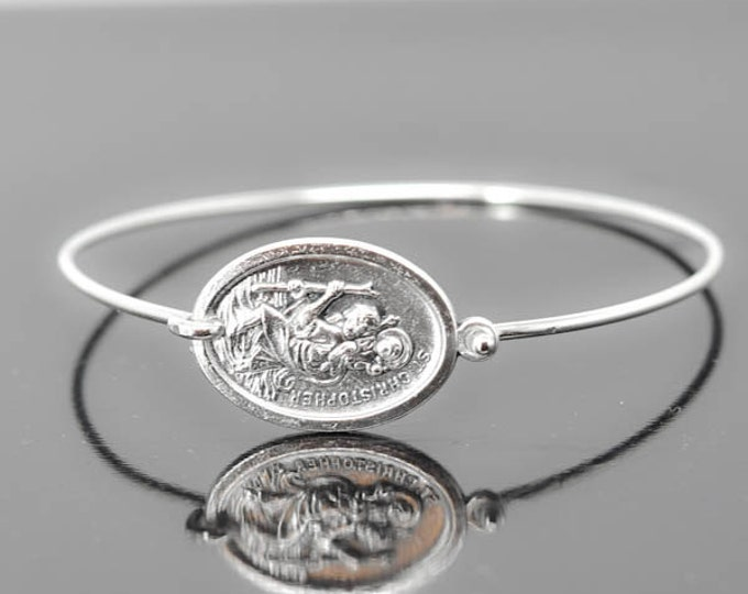 St Christopher Bracelet Bangle, St Christopher Jewelry, Catholic Jewelry, Sterling Silver Bangle Bracelet, Medal Bracelet bangle