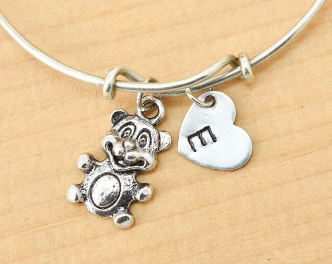 Teddy Bear Bangle, Sterling Silver Bangle, Bear Bracelet, Bridesmaid Gift, Personalized Bracelet, Charm Bangle, Initial Bracelet, Monogram