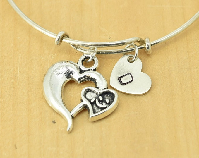 Heart Bangle, Sterling Silver Bangle, Heart Bracelet, Heart Jewelry, Personalized Bracelet, Charm Bangle, Bridesmaid Gift, Initial Bracelet
