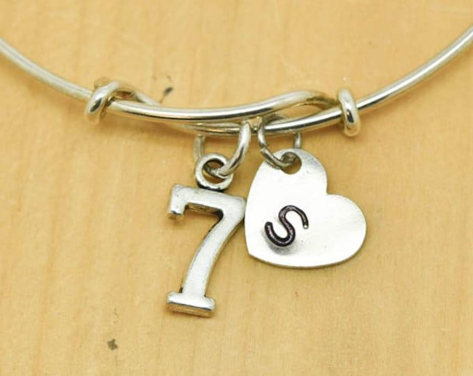 Number Seven Bangle, Sterling Silver Bangle, 7 Bracelet, Bridesmaid Gift, Personalized Bracelet, Charm Bangle, Monogram,Initial Bracelet