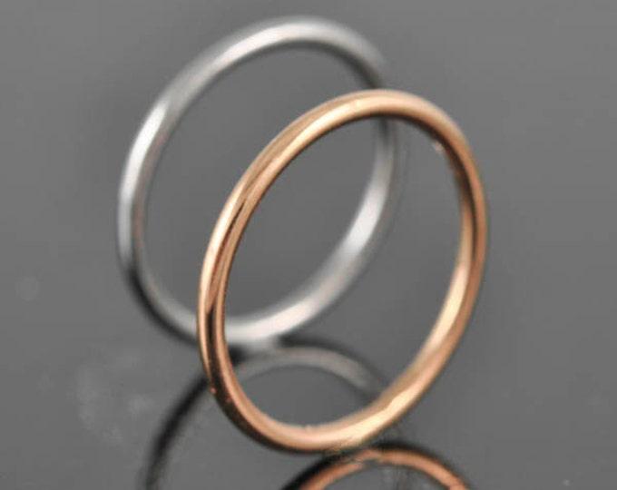 Rose gold ring, stacking ring, wedding band, wedding ring, engagement ring, mens ring, mens wedding band, man wedding ring, Size up to 6