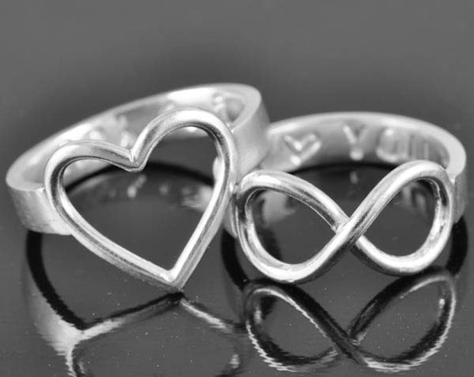 heart ring, personalized ring, sterling silver ring, best friend ring, promise ring, friendship ring, sisters ring, bridesmaid gift