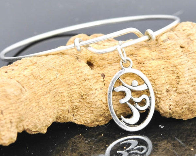 OM Bangle, Sterling Silver Bangle, Adjustable Bangle, Bridesmaid Gift, Initial Bangle, Personalized Bangle, Charm Bangle, Monogram