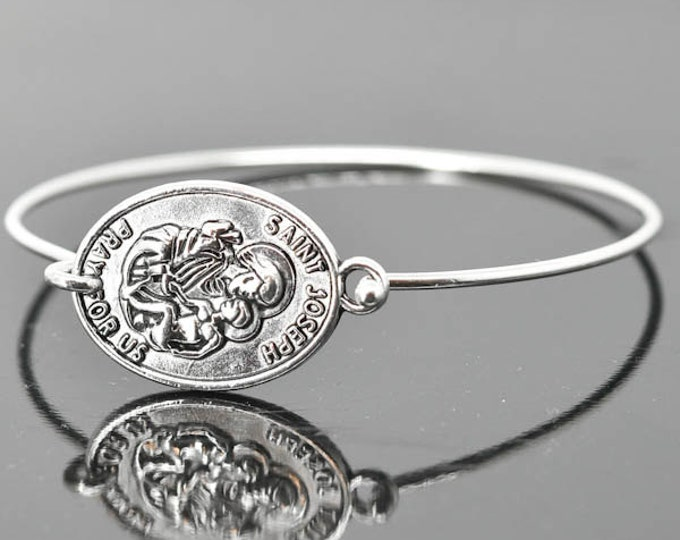 St Joseph Bracelet Bangle, St Joseph Jewelry, Catholic Jewelry, Sterling Silver Bangle Bracelet, Medal Bracelet bangle