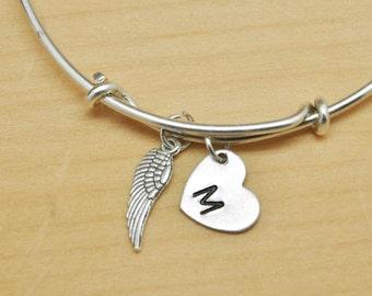Feather Bangle, Sterling Silver Bangle, Feather Bracelet, Bridesmaid Gift, Personalized Bracelet, Charm Bangle, Initial Bracelet