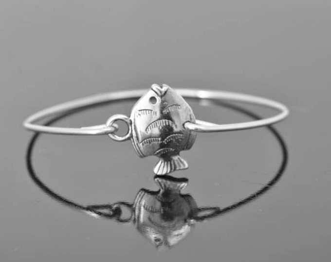 Fish Bangle, Sterling Silver Bangle, Fish Bracelet, Stackable Bangle, Charm Bangle, C Bangle, Bridesmaid jewelry, Bridal Bracelet