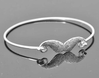 Mustache  Bangle, Sterling Silver Bangle, Mustache  Bracelet, Stackable Bangle, Bridesmaid Bangle, Bridesmaid jewelry, Bridal Bracelet