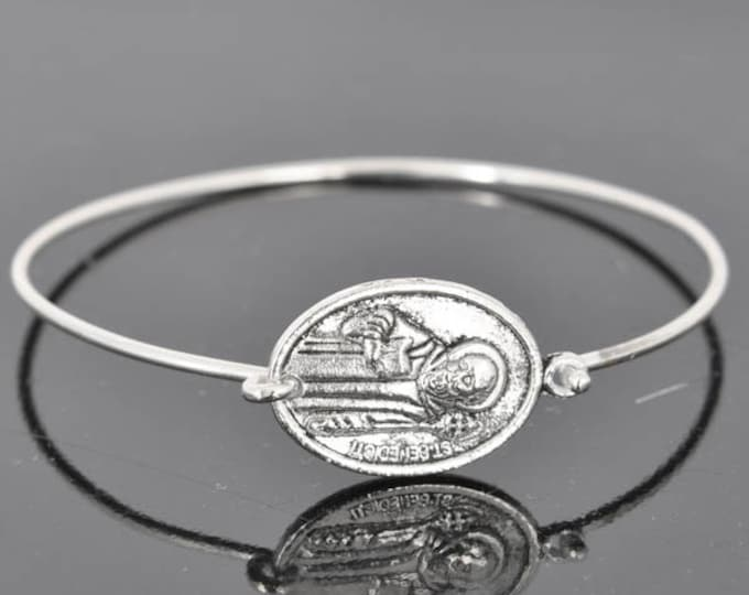 St Benetict Bangle, St Benetict Jewelry, St Benetict Bracelet, Sterling Silver Bangle, Bracelet, Christian Jewelry, Catholic Jewelry