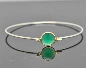 Green chalcedony bangle, Gemstone Bangle, gemstone Jewelry, gemstone Bracelet, Sterling Silver Bangle, Sterling Silver Bracelet