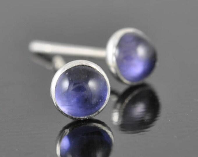 Iolite earrings, stud earrings, september, birthstone earrings, sterling silver earrings