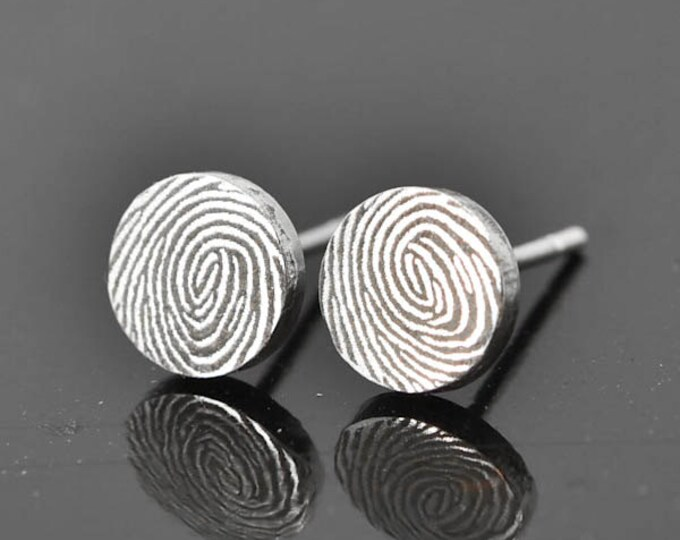 Fingerprint Earrings, Fingerprint Jewelry, Engraved Earrings, Personalized Jewelry, Bridesmaid Gift, Best Friend, Sisters, Stud Earrings