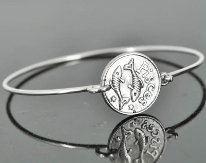 Zodiac Bangle, Sterling Silver Bangle, Zodiac Bracelet, Stackable Bangle, Bridesmaid Bangle, Bridesmaid jewelry, Bridal Bracelet, Pisces