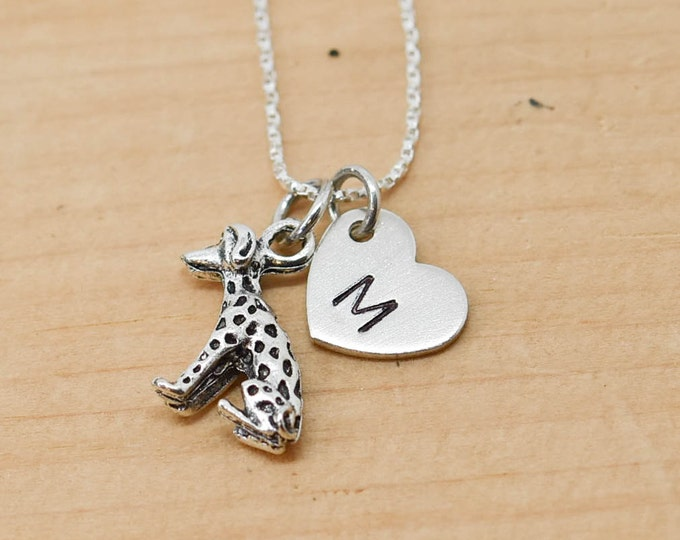 Dalmatians Necklace, Dog Charm, Dog Pendant, Initial Necklace, Personalized Necklace, Sterling Silver, Charm Necklace, Bridesmaid Gift