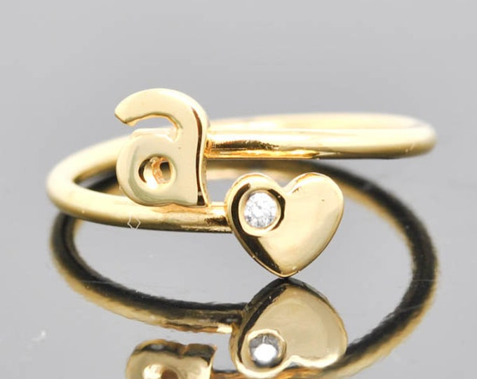 Initial Ring, Heart Ring, Adjustable Ring, alphabet ring, letter ring, personalized ring, sterling silver ring, gold plated, Diamond Ring