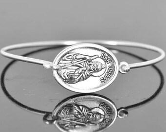 St Jude Bracelet Bangle, Catholic Jewelry, Sterling Silver Bangle, Sterling Silver Bracelet, medal jewelry, medal bangle bracelet