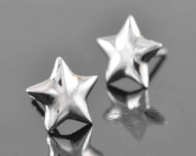 Star earring, sterling silver earring, stud earrings, eco friendly recycled silver
