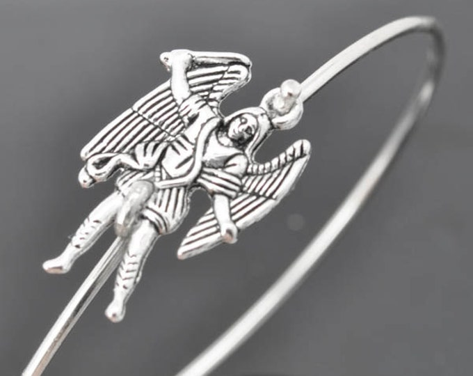 Angel Bangle,  Sterling Silver Bangle, Angel Bracelet,  Angel Jewelry, Sterling Silver Bracelet, Stacking Bangle, Michael, Archangel