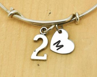 Number Two Bangle, Sterling Silver Bangle, 2 Bracelet, Bridesmaid Gift, Personalized Bracelet, Charm Bangle, Monogram, Initial Bracelet