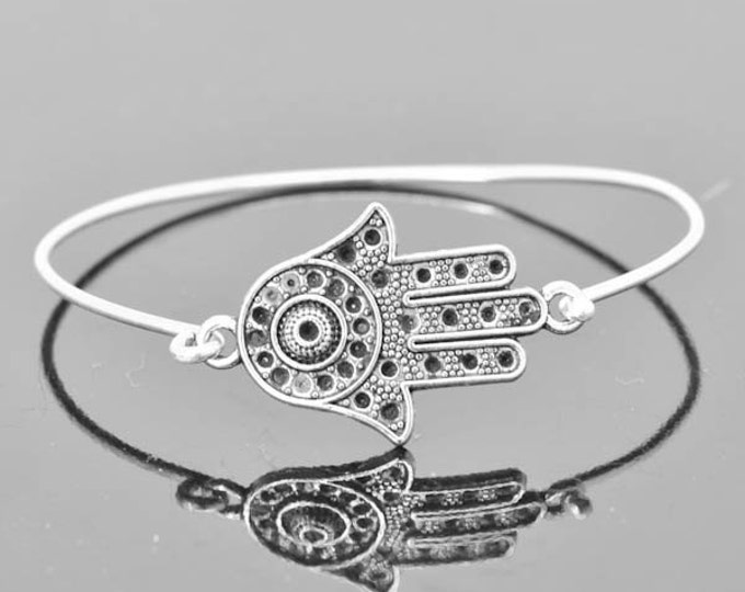 Hamsa Bangle, Sterling Silver Bangle, Hamsa Bracelet, Stackable Bangle, Charm Bangle, Evil Eye Bangle, Evil Eye jewelry, Evil Eye Bracelet