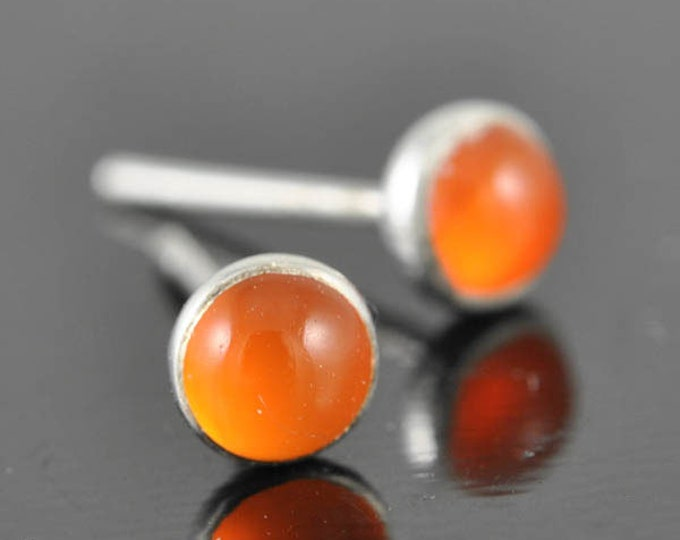 Carnelian earrings, stud earrings, july, birthstone earrings, sterling silver earrings