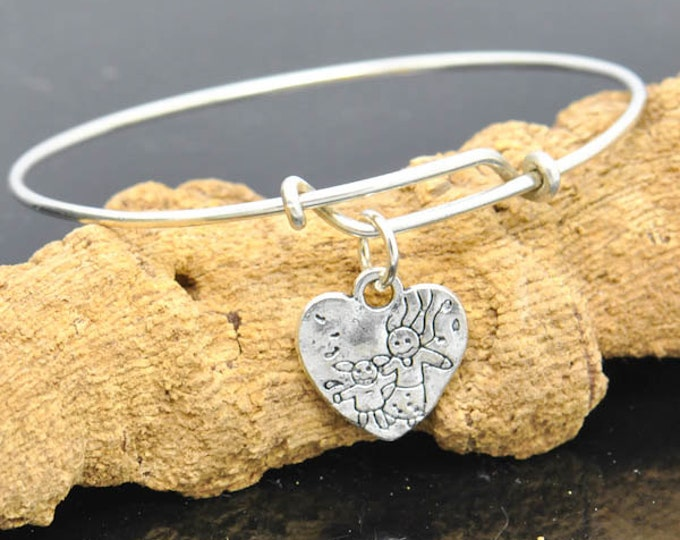 Mom daughter Bangle, Sterling Silver Bangle, Mom daughter Jewelry, Baby Bangle, Jewelry, Bangle, Kids, Jewelry, Baby, Bracelet