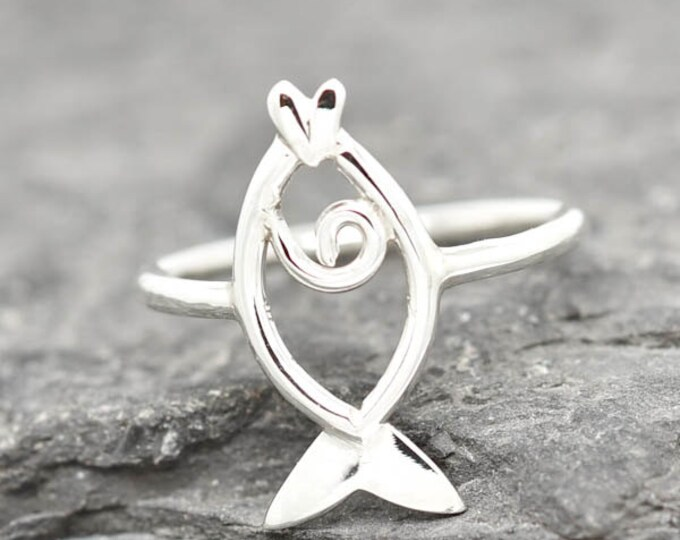 Fish Ring, Betta Fish Ring, Fish Jewelry, Ocean Jewlery, 925 Sterling Silver, Animal Ring, Animal jewelry, Kids Ring, Kids Jewelry