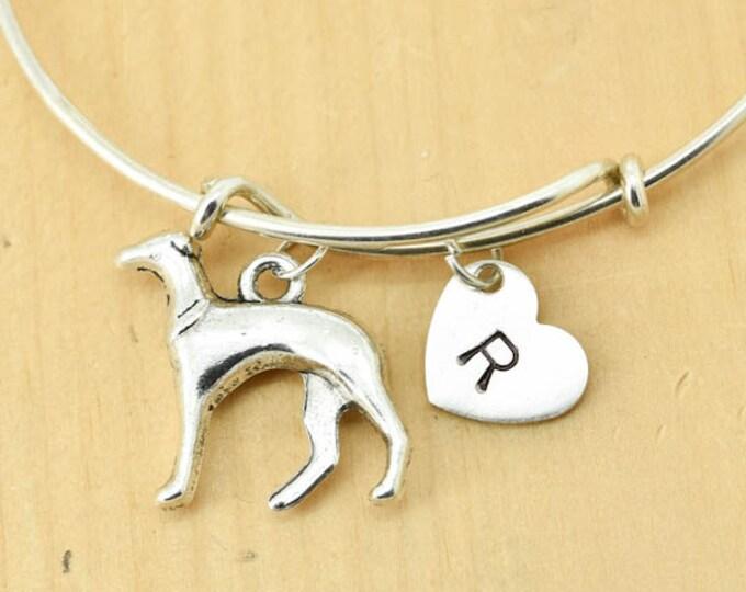 Greyhound Bangle, Sterling Silver Bangle, Greyhound Bracelet, Bridesmaid Gift, Personalized Bracelet, Charm Bangle, Initial Bracelet