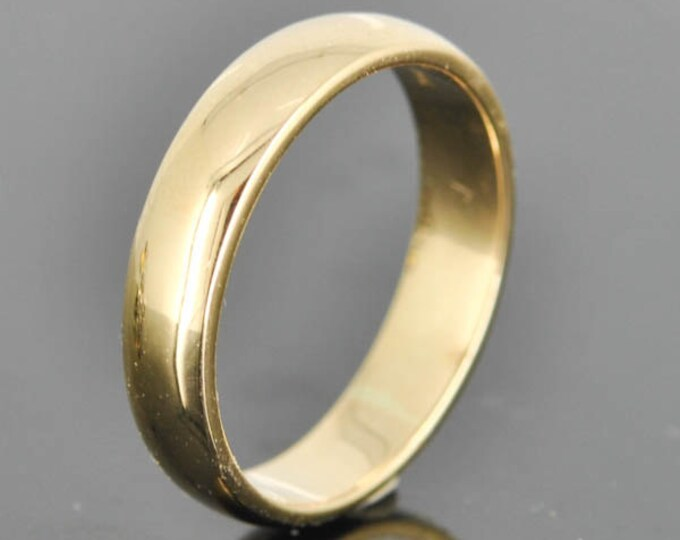 14K Yellow Gold Ring, 4mm x 1.5mm, Wedding Band, Wedding Ring, Yellow Gold Band, Half Round Band, Size up to 12