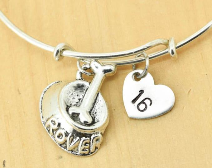 Dog bowl Bangle, Sterling Silver Bangle, Dog bowl  Bracelet, Bridesmaid Gift, Personalized Bracelet, Charm Bangle, Initial Bracelet