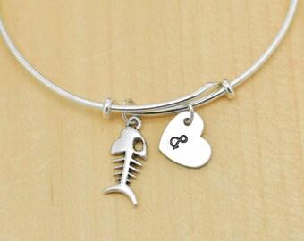 Fishbone Bangle, Sterling Silver Bangle, Fishbone Bracelet, Bridesmaid Gift, Personalized Bracelet, Charm Bangle, Initial Bracelet