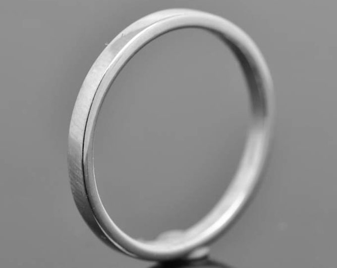 14K palladium white gold ring, 2mm X 1mm, flat, wedding band, wedding ring, square, mens ring, his and hers, size up to 12